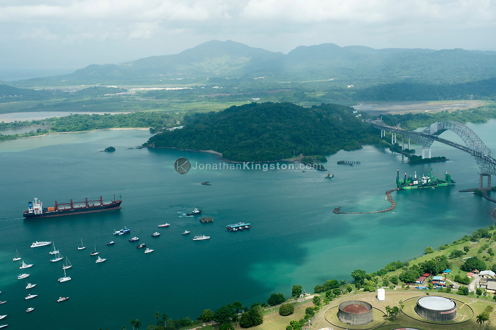 Aerial view of the Pacific entrance to the Panama Canal, Panama.