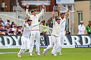 Celebrations as the wicket of Adam Voges  as he goes LBW during 2nd day of the Investec Ashes Test match between England and Australia at Trent Bridge, Nottingham, United Kingdom on 7 August 2015. Photo by Shane Healey.