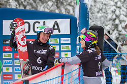 Marguc Rok (SLO), Nadya Ochner (ITA), celebrates during Final Run at Parallel Giant Slalom at FIS Snowboard World Cup Rogla 2019, on January 19, 2019 at Course Jasa, Rogla, Slovenia. Photo byJurij Vodusek / Sportida