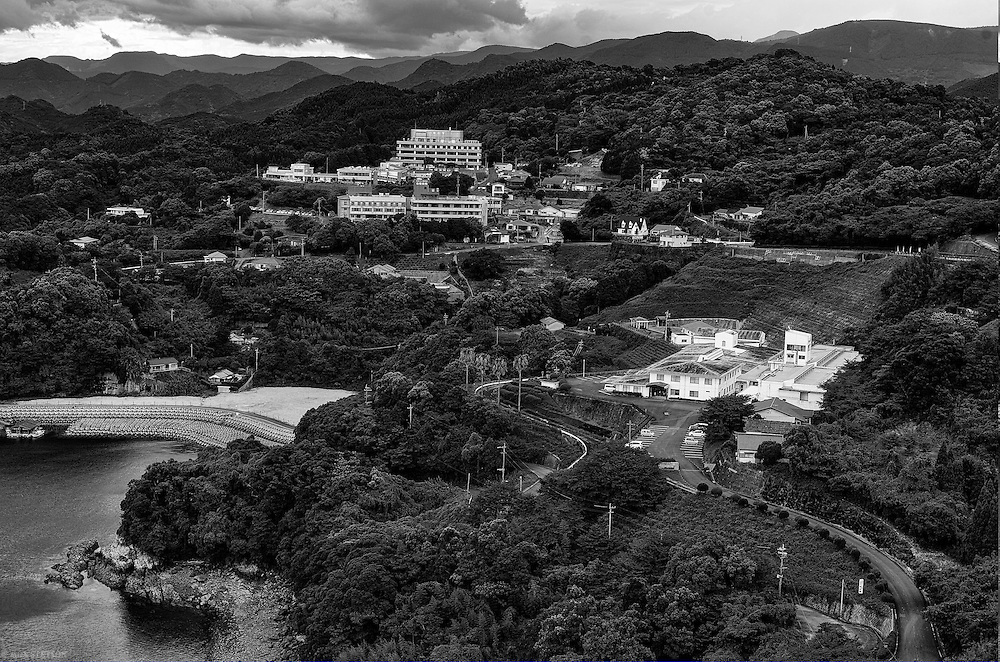 — Hospitals and rehabilitation centers abound in the region. The Meisuien (lower right) is a residential facility for the most extreme cases of congenital Minamata disease. This is where Kiyoko has lived since she was 7 years old.