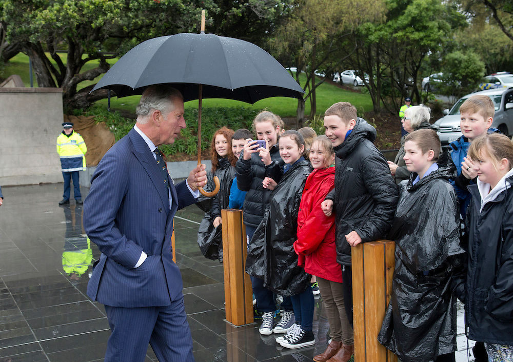 Prince Charles, Prince of Wales is greeted by hardy young royal-watchers during his walk-a-bout at Pukeahu National War Memorial Parkl, Wellington, New Zealand, Wednesday, November 04, 2015. Credit:SNPA / NZ Herald, Marl Mitchell **POOL**