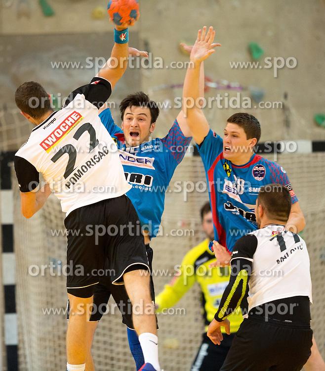 16.09.2016, Sporthalle Leoben Donawitz, Leoben, AUT, HLA, Union JURI Leoben vs SC kelag Ferlach, im Bild v.l.: Dean David Pomorisac (Ferlach), Hazbulat Sabazgiraev (Leoben), Stafan Salbrechter (Leoben), Malovic Nemanja (Ferlach) // during the Handball League Austria match between Union JURI Leoben vs SC kelag Ferlach at the sport Hall, Leoben, Austria on 2016/09/16, EXPA Pictures © 2016, PhotoCredit: EXPA/ Dominik Angerer