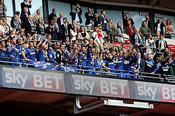 AFC Wimbledon Captain Barry Fuller lifts the Sky Bet League Two Playoff Trophy - Mandatory by-line: Robbie Stephenson/JMP - 30/05/2016 - FOOTBALL - Wembley Stadium - London, England - AFC Wimbledon v Plymouth Argyle - Sky Bet League Two Play-off Final