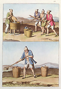 Chinese agriculture, 1825-1835. Top: Husking rice. One person puts grain into a husker while three men move the crank mechanism. Bottom: Man filling wooden pails with water from a stream. From 'Costume Antico et Moderno'. (Rome 1825-1835).