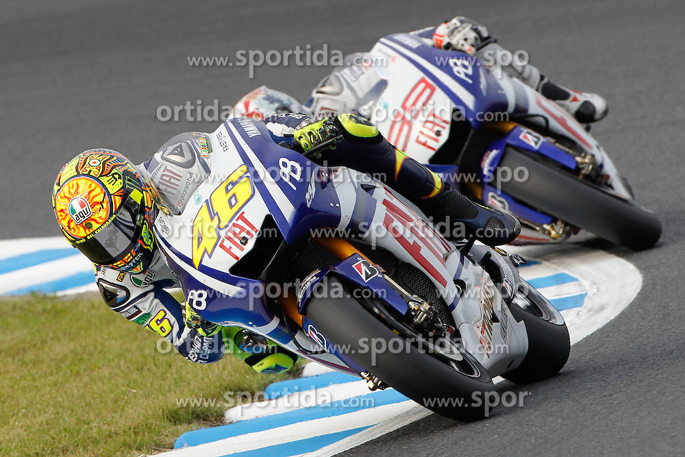 03.10.2010, Motegi, JPN, MotoGP, Grand Prix of Japan, im Bild V. Rossi and Jorge Lorenzo - Fiat Yamaha team .EXPA Pictures © 2010, PhotoCredit: EXPA/ InsideFoto/ Semedia +++++ ATTENTION - FOR AUSTRIA AND SLOVENIA CLIENT ONLY +++++