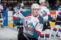 KELOWNA, CANADA - JANUARY 7: Lucas Johansen #7 of the Kelowna Rockets warms up against the Kamloops Blazers on January 7, 2017 at Prospera Place in Kelowna, British Columbia, Canada.  (Photo by Marissa Baecker/Shoot the Breeze)  *** Local Caption ***