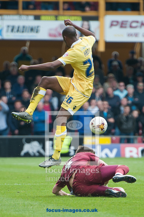 Jimmy Abdou of Millwall is tackled by Lee Evans of Bradford City during the Sky Bet League 1 Playoff  Semi-final Leg One at the Coral Windows Stadium, Bradford<br /> Picture by Matt Wilkinson/Focus Images Ltd 07814 960751<br /> 15/05/2016