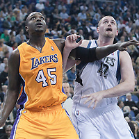 04 October 2010: Los Angeles Lakers forward Derrick Caracter vies with Minnesota Timberwolves forward Kevin Love during the Minnesota Timberwolves 111-92 victory over the Los Angeles Lakers, during 2010 NBA Europe Live, at the O2 Arena in London, England.