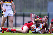 Bradford Bulls loose forward Ross Peltier (17) is tackled  during the Kingstone Press Championship match between Dewsbury Rams and Bradford Bulls at the Tetley's Stadium, Dewsbury, United Kingdom on 4 June 2017. Photo by Simon Davies.