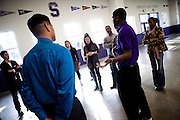 Michelle Rhee and her StudentsFirst staff tour Sacramento High School in Sacramento, Calif., February 4, 2011.