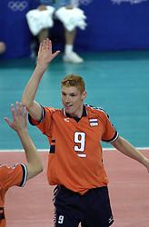 19-09-2000 AUS: Olympic Games Volleybal Nederland - Australie, Sydney<br /> Nederland wint vrij eenvoudig van Australie met 3-0 / Bas van de Goor