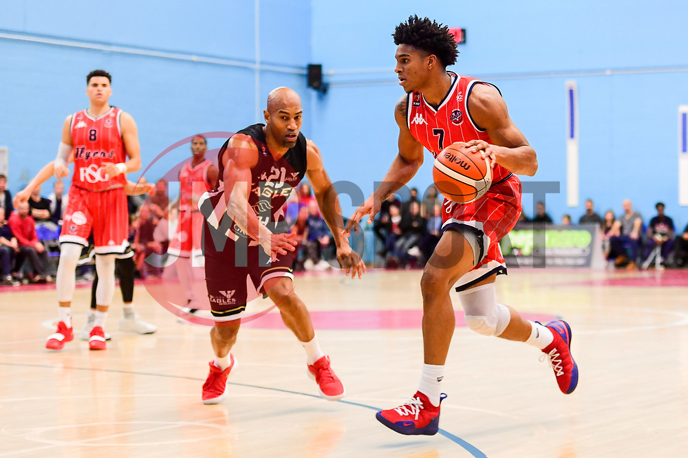 Justin Gray of Bristol Flyers is marked by Drew Lasker of Newcastle Eagles - Photo mandatory by-line: Ryan Hiscott/JMP - 03/11/2018 - BASKETBALL - SGS Wise Arena - Bristol, England - Bristol Flyers v Newcastle Eagles - British Basketball League Championship