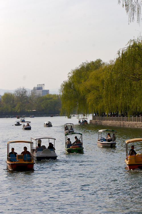 The view from Yinding Bridge overlooking Houhai lake one of the three lakes in the Shichahai area in Beijing,China.
