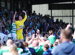 Yeovil Town's Joe Edwards celebrates with Yeovil Town's Marek Stech - Photo mandatory by-line: Dougie Allward/JMP - Tel: Mobile: 07966 386802 06/05/2013 - SPORT - FOOTBALL - Huish Park - Yeovil - Yeovil Town V Sheffield United - NPOWER LEAGUE ONE PLAY-OFF SEMI-FINAL SECOND LEG