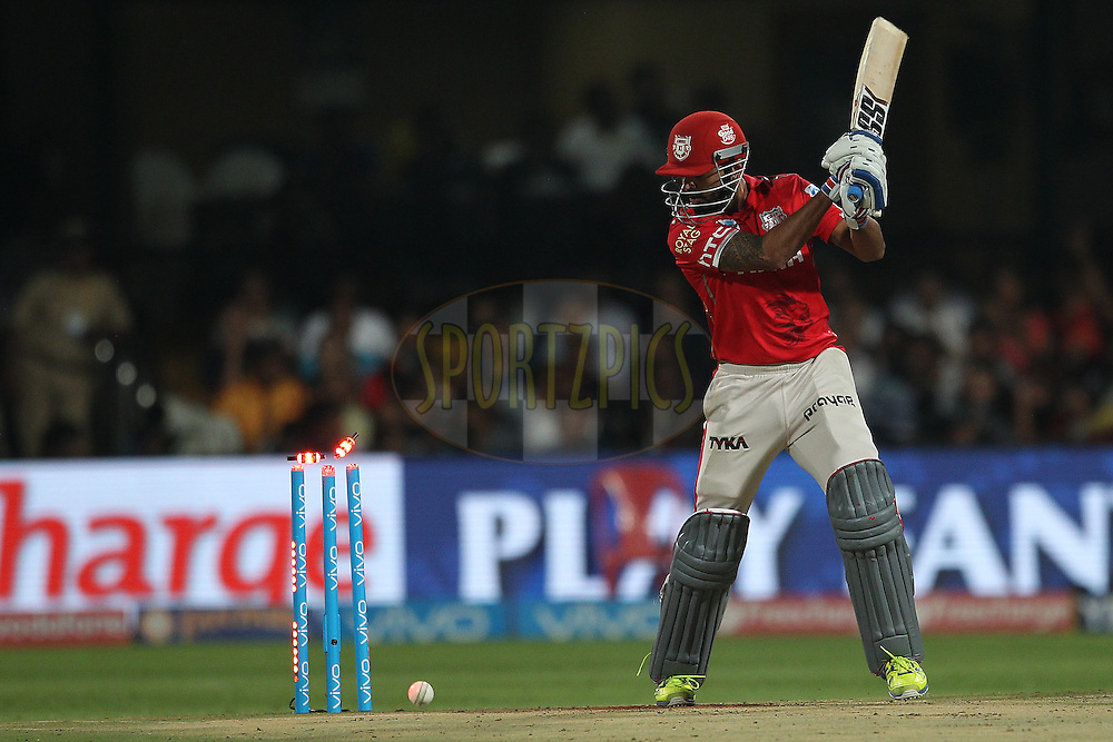 Kings XI Punjab captain Murali Vijay is bowled by Sreenath Arvind of Royal Challengers Bangalore during match 50 of the Vivo IPL ( Indian Premier League ) 2016 between the Royal Challengers Bangalore and the Kings XI Punjab held at The M. Chinnaswamy Stadium in Bangalore, India,  on the 18th May 2016<br /> <br /> Photo by Ron Gaunt / IPL/ SPORTZPICS