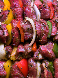 Kabobs ready for the grill at Jack O'shea's Butcher - Brussels, Belgium. (Photo © Jock Fistick)