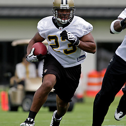 05 June 2009: Saints running back Pierre Thomas (23) participates in drills during the New Orleans Saints Minicamp held at the team's practice facility in Metairie, Louisiana.