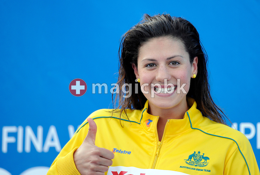 Stephanie RICE of Australia gives a thumb up during the award ceremony after finishing second in the women's 200m individual medley (IM) final at the 13th FINA World Championships at the Foro Italico complex in Rome, Italy, Monday, July 27, 2009. (Photo by Patrick B. Kraemer / MAGICPBK)