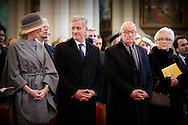 12-2-2015 BRUSSEL Laken  - de Koning Filip en de Koningin Mathilde en de Leden van de Koninklijke Familie Koning Albert II ,Koningin Paola Prinses Astrid ,Prins Lorenz , Prins Laurent , Prinses Claire  wonen de jaarlijkse eucharistieviering bij ter nagedachtenis van de overleden Leden van de Koninklijke Familie. De mis vindt plaats in de Onze-Lieve-Vrouwkerk te Laken. COPYRIGHT ROBIN UTRECHT<br /> 12-2-2015 BRUSSELS laken - King Philip fillip  and Queen Mathilde and the Members of the Royal Family King Albert II, Queen Paola Princess Astrid Prince Lorenz, Prince Laurent, Princess Claire attend the annual celebration of the Eucharist in memory of the deceased members the Royal Family. The Mass will take place at the Our Lady Church in Laken. COPYRIGHT ROBIN UTRECHT