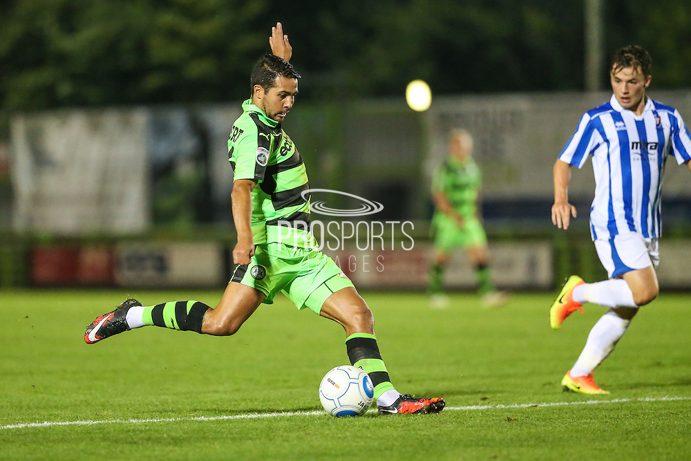 Forest Green Rovers Fabien Robert (26) shoots at goal during the Gloucestershire Senior Cup match between Forest Green Rovers and Cheltenham Town at the New Lawn, Forest Green, United Kingdom on 20 September 2016. Photo by Shane Healey.