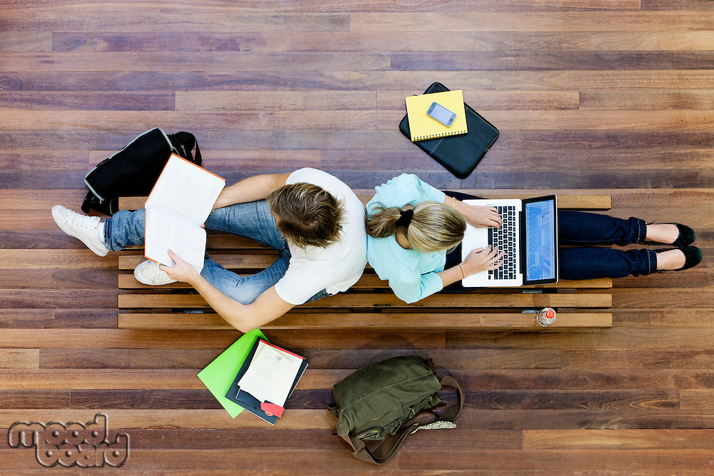 University students studying from above