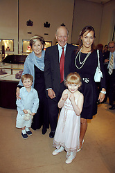 CHARLES & PATTI PALMER-TOMPKINSON and their grandchildren LILY & SASHA SEBAG-MONTEFIORE and daughter TARA PALMER-TOMPKINSON at a party to celebrate the publication of 'Young Stalin' by Simon Sebag-Montefiore at Asprey, New Bond Street, London on 14th May 2007.<br />