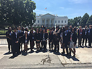 HISD students and other attendees at the 2016 Democracy in Action Seminar in Washington, D.C., outside the White House.