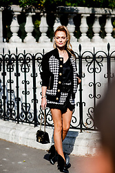 Street style, Caroline Receveur arriving at Balmain spring summer 2019 ready-to-wear show, held at Hotel de Ville, in Paris, France, on September 28, 2018. Photo by Marie-Paola Bertrand-Hillion/ABACAPRESS.COM