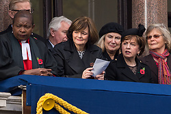 Cherie Blair (centre) during the annual Remembrance Sunday Service at the Cenotaph memorial in Whitehall, central London.