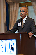 Julian Johnson, Senior Vice President, SEO speaking at SEO 2nd Annual Alternative Investment Conference held May 17, 2011 at the Essex House Hotel in New York. Organized by Sponsors for Educational Opportunity (SEO), the conference is part of SEO's Alternative Investments Program, which includes the Alternative Investment Fellowship Program (AIFP), an initiative launched in 2009.  The AIFP is an educational program for young professionals from backgrounds traditionally underrepresented in the alternative investments industry.  The AIFP combines workshops, training and mentoring to strengthen Fellows as candidates for positions in private equity and other alternative investments.  The program also improves Fellows' skills as analysts by exploring strategic decisions involved in transactions from the client's point of view.