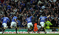 Photo: Paul Thomas.<br /> Glasgow Celtic v Glasgow Rangers. Bank of Scotland Scottish Premier League. 11/03/2007.<br /> <br /> Ego Ehiogu (12) and his Rangers team-mates celebrate in-front of the Rangers fans.