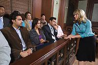 Female attorney addressing jury