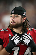 Atlanta Falcons offensive tackle Ty Sambrailo (74) looks on after the 2018 NFC Wild Card NFL playoff football game against the Los Angeles Rams, Saturday, Jan. 6, 2018 in Los Angeles. The Falcons won the game 26-13. (©Paul Anthony Spinelli)