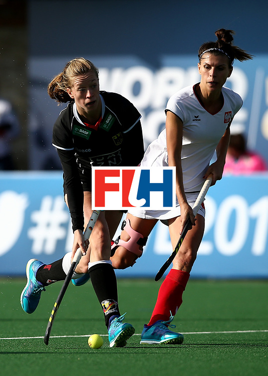JOHANNESBURG, SOUTH AFRICA - JULY 08:  Franziska Hauke of Germany controls the ball from Natalia Wisniewska of Poland during day 1 of the FIH Hockey World League Semi Finals Pool A match between Germany and Poland at Wits University on July 8, 2017 in Johannesburg, South Africa.  (Photo by Jan Kruger/Getty Images for FIH)