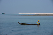 Canoe on Brahmaputra River<br /> Assam<br /> North East India<br /> UNESCO World Heritage Site