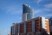 Modern apartment blocks near historic waterfront, Portsmouth, hampshire, England