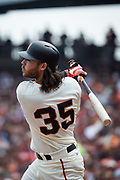 San Francisco Giants shortstop Brandon Crawford (35) watches a foul ball hit against the St. Louis Cardinals at AT&T Park in San Francisco, California, on September 3, 2017. (Stan Olszewski/Special to S.F. Examiner)