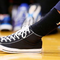 12 April 2014: Close view of Dallas Mavericks center Amar'e Stoudemire (1) Converse shoes during the Dallas Mavericks 120-106 victory over the Los Angeles Lakers, at the Staples Center, Los Angeles, California, USA.
