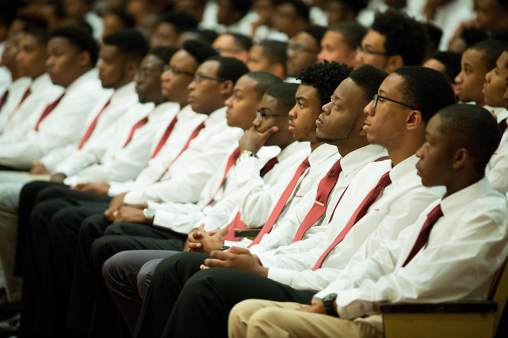 Morehouse College freshmen listen to speakers during the Parents' Parting Ceremony in the Martin Luther King Jr. International Chapel at the college on Wednesday, Aug. 12, 2015 in Atlanta, Ga. Photo by Kevin D. Liles for The New York Times