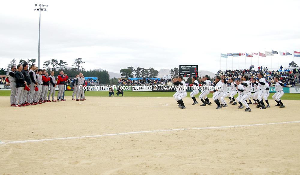 7th February 2004, ISF Men's Softball World Championships, Christchurch, New Zealand.<br />NZ Black Sox vs Team Canada.<br />Black Sox haka.<br />Pic: Sandra Teddy/Photosport