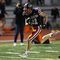 (Photograph by Bill Gerth for SVCN) Los Gatos #21 Caden McCloughan scores vs Saratoga in a SCVAL Football Game at Los Gatos High School, Los Gatos CA on 11/4/16.  (Los Gatos 49 Saratoga 7)