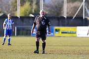 Referee Paul Farmer taken during the FA Women's Sussex Challenge Cup semi-final match between Brighton Ladies and Hassocks Ladies FC at Culver Road, Lancing, United Kingdom on 15 February 2015. Photo by Geoff Penn.