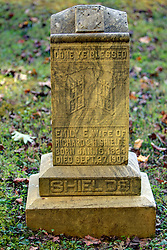 grave marker for Emily Shields in the cemetery at Primitive Baptist Church in Cades Cove, Great Smoky Mountain National Park, Blount County, Tennessee