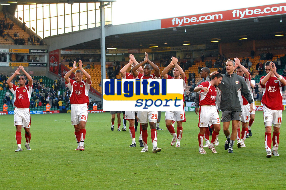 Photo: Ashley Pickering.<br /> Norwich City v Bristol City. Coca Cola Championship. 20/10/2007.<br /> The Bristol City players celebrate victory at the end of the match