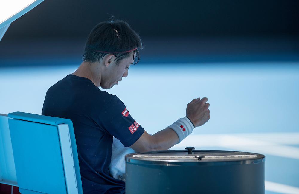 Kei Nishikori of Japan practices ahead of the 2017 Australian Open at Melbourne Park on January 12, 2017 in Melbourne, Australia.<br /> (Ben Solomon/Tennis Australia)