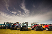 Landrovers, famous British 4WD vehicle, Bluff Cove, Falkland Islands