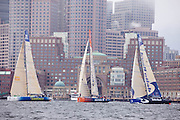 Telefonica Blue, Ericsson 4, and Delta Lloyd at the start of Leg 7 of the Volvo Ocean Race, Boston.