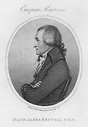 James Rennell (1742-1839), British geographer.   Rennell was appointed the first surveyor-general of Bengal in 1764. He carried out a survey of Bengal 1765-1771. From 'The European Magazine'. (London, 1802).  Engraving.