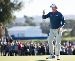 January 27, 2017 - San Diego, Calif, USA - Brandt Snedeker acknowledges the crowd during the second day of the Farmers Insurance Open golf tournament at Torrey Pines in San Diego, Calif. on Friday, January 27, 2017. (Photo by Kevin Sullivan, Orange County Register/SCNG) (Credit Image: © Kevin Sullivan/The Orange County Register via ZUMA Wire)