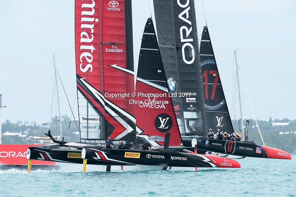 The Great Sound, Bermuda. 3rd June 2017. Emirates Team New Zealand and Oracle Team USA round the top mark in their final match of the America's Cup Qualifiers. Oracle went on to win and so take a point forward to the America's Cup final.<br /> Copyright photo: Chris Cameron / www.photosport.nz